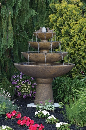 Tranquility Spill Cement Fountain with Birds