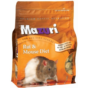 Mazuri Rat. Mazuri® Rat & Mouse Diet. Description:Mazuri® Rat & Mouse Diet is a highly nutritious, complete diet that is specially formulated to meet the nutritional requirements of rodents at all life stages. Features and Benefits: Nutritionally complete – No vitamin or mineral supplementation needed. Vegetable-based formulation.