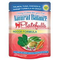 Natural Balance Indoor Formula Platefulls Salmon, Tuna, Chicken & Shrimp Formula in Gravy, 24/3 Oz