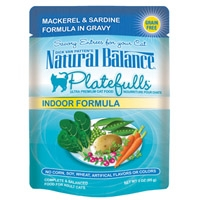 Natural Balance Indoor Formula Platefulls Mackerel & Sardine Formula in Gracy 3 Oz