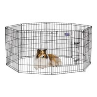 "Midwest Black Exercise Pen with Door - 8 Panels Each 24"" Wide - Black E-Coat Finish 24 X 30"