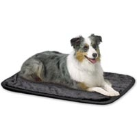 Midwest Quiet Time Deluxe Pet Mats - Black Synthetic Fur with Non-Skid Bottom 30 X 19