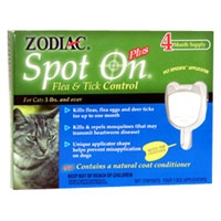 Zodiac Spot On Plus Flea & Tick For Cats Less Than 5 lb.  4 Pack