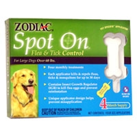 Zodiac Z-171 Spot On Flea & Tick Control  Large Dog 4 Pack
