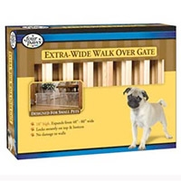 Four Paws Double Wide Walk Over Wood Gate 18X48-80""