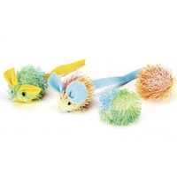Ethical Catnip Stringy Mouse & Ball 4 pk