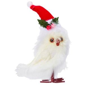 Raz Imports Feathered Owl with Santa Hat