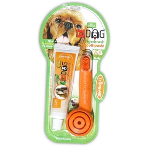 Triple Pet Fingerbrush/Pet Toothpaste Set