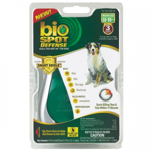 Bio Spot® Defense Flea & Tick Spot On® for Dogs 32-55 lbs. (3M SS) MED