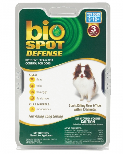 Bio Spot® Defense Flea & Tick Spot On® for Dogs 6-12 lbs. (3M SS) TOY