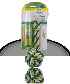 Tropiclean Fresh Breath Rope Ball w/ Liquid Floss - Small Kit