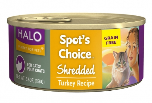 Halo Spot's Choice™ for Dogs, Grain-Free Shredded Turkey & Chickpeas  12/5.5 oz