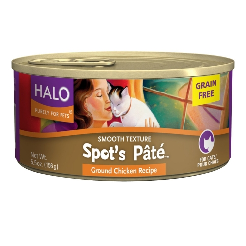 Halo Spot's Pate Cat Grain-Free Ground Chicken 12/5.5 oz
