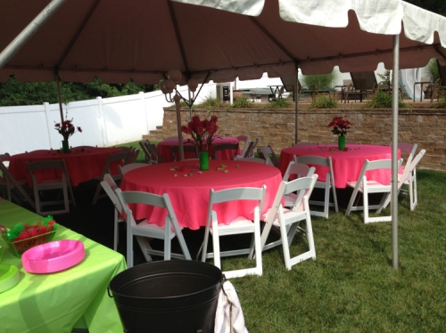 Tent, tables and chairs