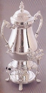 Beverage, Coffee Urn, 50 Cup Silverplate, Imported Pot-Belly