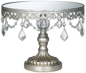 Cake Stand, Antique Silver with Crystals