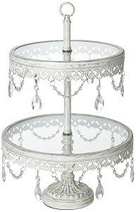 Cupcake Stand, Antique White with Crystals