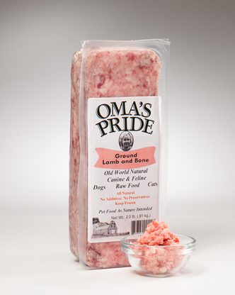 Oma's Pride Frozen Ground Lamb & Bone 1 lb, 2 lbs