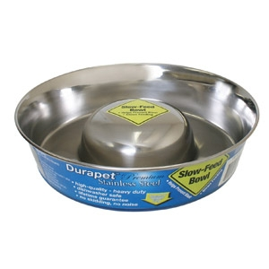 Durapet™ Slow-Feed Stainless Steel Dog Bowl - Medium