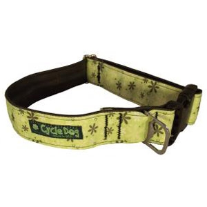 Cycle Dog® Fatty Apple Green Retro Flowers Dog Collar