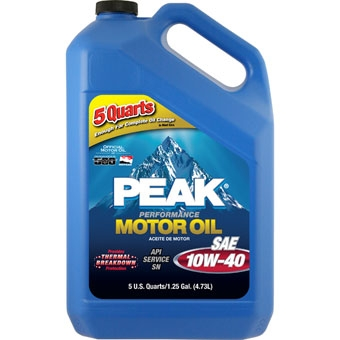 Peak Sae 10w-40 Multigrade Motor Oil 5 Qt