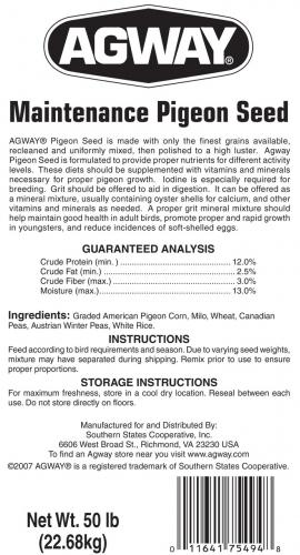 Agway Maintenance Pigeon Seed 50lb