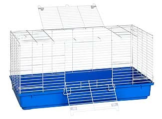 Rabbit Cage With Blue Plastic Bottom 40in