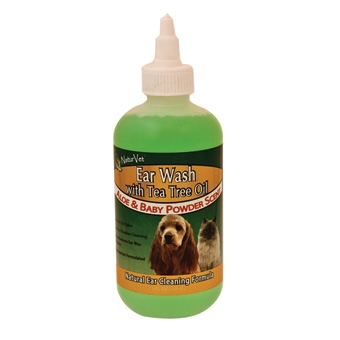 Naturvet Ear Wash With Tea Tree Oil - Aloe & Baby Powder Scent 8oz