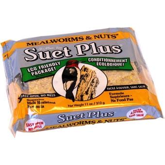 Suet Plus Mealworms & Nuts Suet Cake 11 Oz