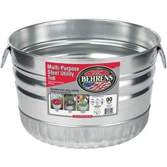Behrens Galvanized Steel Multi-purpose Round Utility Tub 1 Bushel