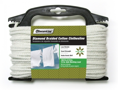 Diamond Braided Cotton Clothesline 3/16in X 100ft