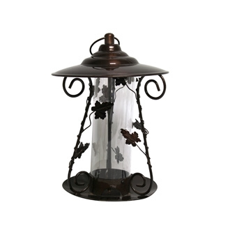 Heath Decorative Floral Mixed Seed Bird Feeder Bronze