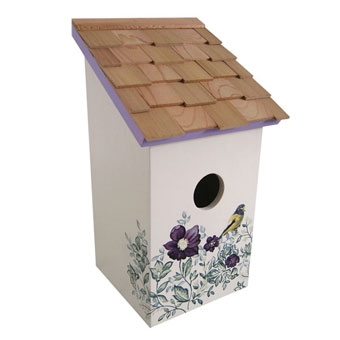 Home Bazaar Printed Salt Box Birdhouse Anemone