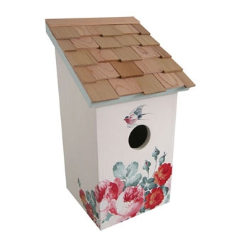 Home Bazaar Printed Salt Box Birdhouse Peony