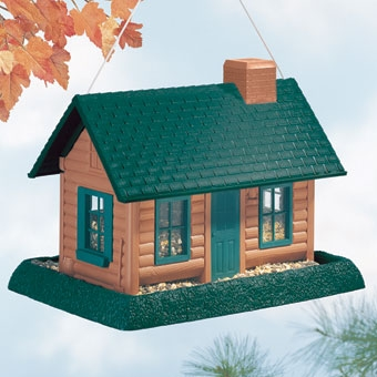 North States Log Cabin Birdfeeder Brown Large