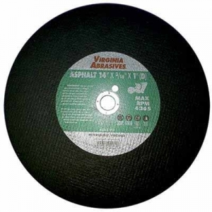Virgina Abrasives Blades 14 x 1/4 x 1-D Abrasive Cut Off Wheels-Asphalt