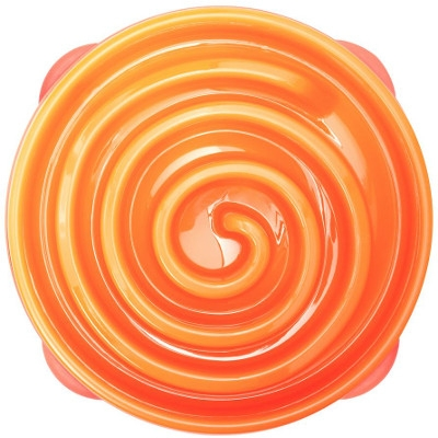 Kyjen Slo-Bowl Slow Feeder in Coral (Summer Orange)