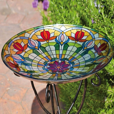 Tiffany Inspired Floral Glass Birdbath