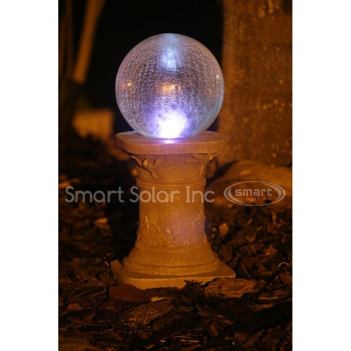 Smart Solar Crackled Glass Chameleon Gazing Ball with Pedestal