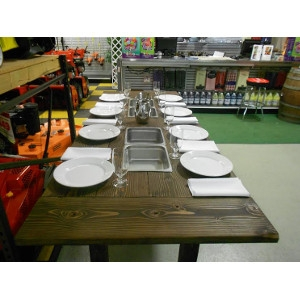Chatfield Power, Wooden Farm Table With Built In Stainless Steel Beverage Containers
