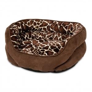 Oval Bolster Lounger Bed Giraffe print