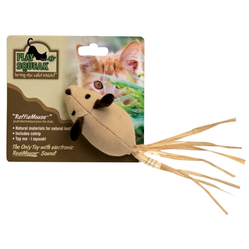 Play N Squeak Raffia Mouse
