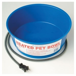 Heated 60 Watt Pet Bowl Blue Round