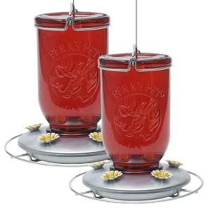 Perky Pet® Red Mason Jar Glass Hummingbird Feeder - 2 Pack
