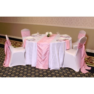 We Rent Linens, Pintuck Light Pink Table Runner