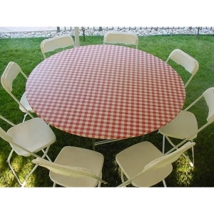 "Kwik-Covers  60"" Red/White Tablecover"