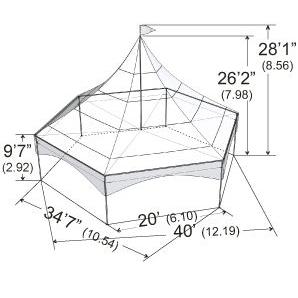 Warner Shelter Peak Marquee Tent 35' X 40'
