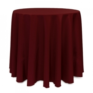 "BURGUNDY POLYESTER TABLECLOTH 90"" ROUND"