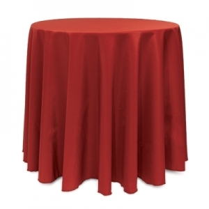 "HOLIDAY RED POLYESTER TABLECLOTH 90"" ROUND"