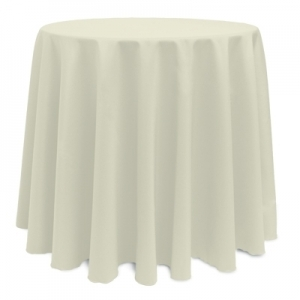"IVORY POLYESTER TABLECLOTH 90"" ROUND"